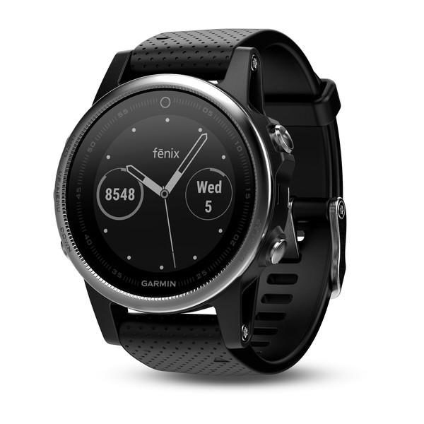 """GPS Watch Garmin FENIX 5S Silver with Black Band, 218 x 218 pixels; sunlight-visible, always-on, power sensor, sunlight-visible, transflective memory-in-pixel (MIP) display, Rechargeable lithium- ion """"010-01685-02"""""""