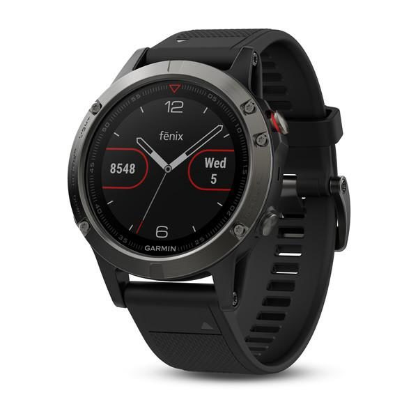 """GPS Watch Garmin FENIX 5 SLATE GRAY, 240 x 240 pixels; sunlight-visible, always-on, low power, colorful display, Rechargeable lithium- ion: Up to 2 weeks in smartwatch mode (depending on settings), """"010-01688-00"""""""