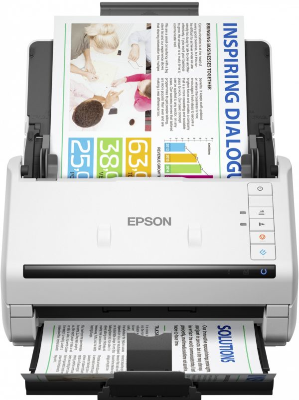 "Scanner Epson DS-530, dimensiune A4, tip sheetfed, viteza scanare: 70 ipm alb-negru si color, rezolutie optica 600x600dpi, ADF Single Pass 50 pagini, duplex, senzor CCD, interfata: USB 3.0, optional retea. ""B11B226401"""