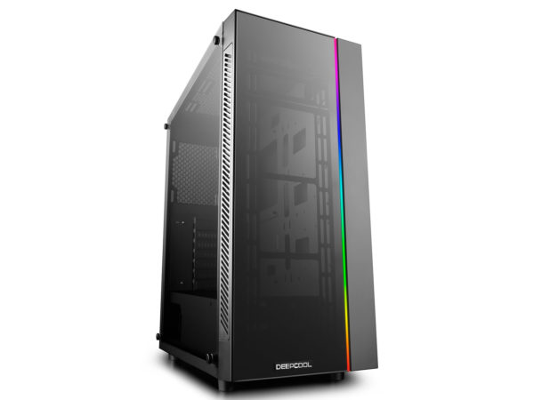 "CARCASA DeepCool Middle-Tower E-ATX, header RGB SYNC & header RGB ADD, RGB LED strip, tempered glass, front audio & 1x USB 3.0, 2x USB 2.0, black ""MATREXX 55 ADD-RGB"""