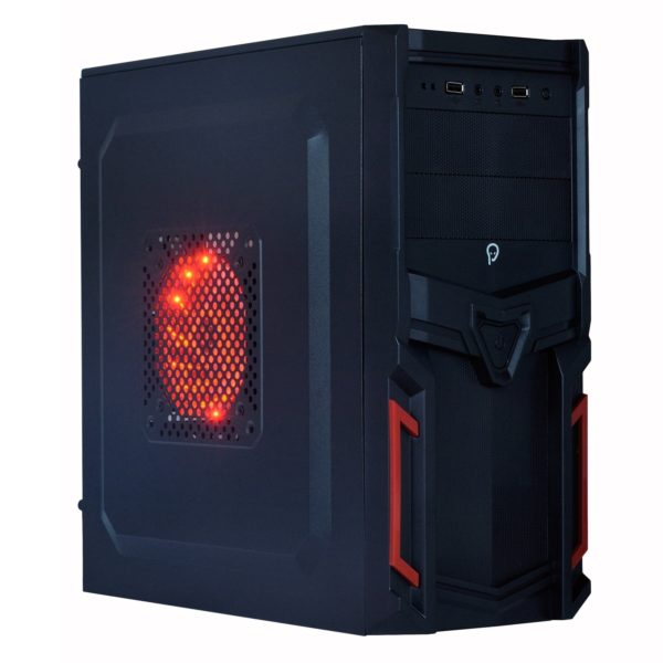 "CARCASA SPACER Middle-Tower ATX, fara sursa, Pr1m3, 1*80mm & 1* 120mm RED LED fan instalate, I/O panel, Black&Red ""SP-GC-03"""