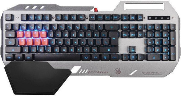 "TASTATURA A4Tech Bloody gaming USB, 104 taste (dintre care 8 taste gaming cu silicon si switch optic, 7 cu fct. multim.), iluminare sistem neon glare, wrist rest, golden, ""B2418"""