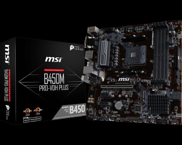 "Placa de baza MSI Socket AM4 B450M PRO-VDH PLUS, Chipset AMD B450, CPU Max support Ryzen7, Dual Mem Channel, 4x DIMM Slots, 64GB Max Memory, m-ATX. ""B450M PRO-VDH PLUS"""