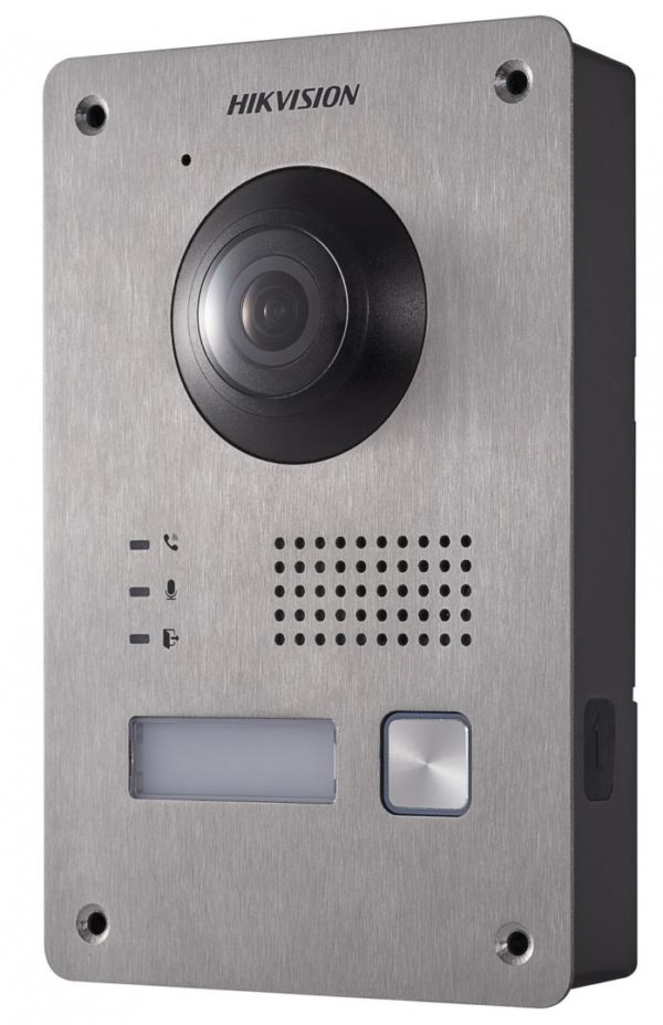 "Post de videointerfon exterior pe 2 fire Hikvision, DS-KV8103-IME2; montaj pe 2 fire; 1080P two-wire door station, fisheye camera, low illumination IP65, Vandal-resistant Metal, IR Supplement, One-touch call indoor station; ""DS-KV8103-IME2"""