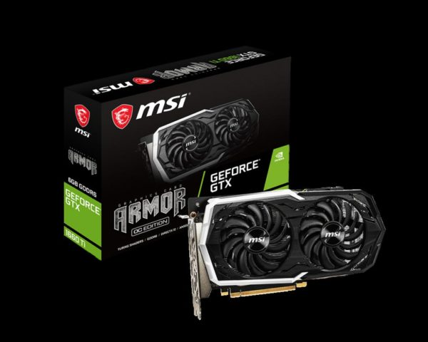 "MSI GeForce GTX 1660 Ti ARMOR 6G OC, GTX 1660TI, PCIE Express 3.0, 6GB GDDR6, 192-bit, 2x HDMI 2.0b, 1x Display Port 1.4, 1x DVI-D. ""GTX 1660TI ARMOROC"""