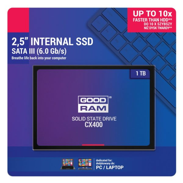 "SSD Goodram, CX400, 1TB, 2.5″, SATA III (6 GB/s), R/W speed: up to 550MB/s/490MB/s ""SSDPR-CX400-01T"""