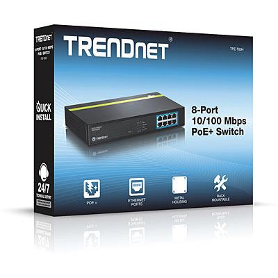 "TRENDnet 8-Port 10/100 Mbps PoE+ Switch, TPE-T80H, 8* 10/100 Mbps PoE+ports, IEEE 802.3u, IEEE 802.3x, IEEE 802.3af (15.4 Watts/port), IEEE802.3at (30 Watts/port), IEEE 802.3az, ""TPE-T80H"""