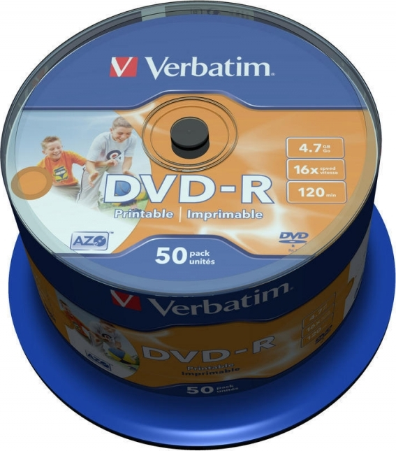 "DVD-R VERBATIM 4.7GB, 120min, viteza 16x, 50 buc, Single Layer, spindle, printabil, ""Wide Inkjet Printable"" ""43533"""