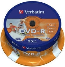 "DVD-R VERBATIM 4.7GB, 120min, viteza 16x, 25 buc, Single Layer, spindle, printabil, ""Wide Inkjet Printable"" ""43538"""