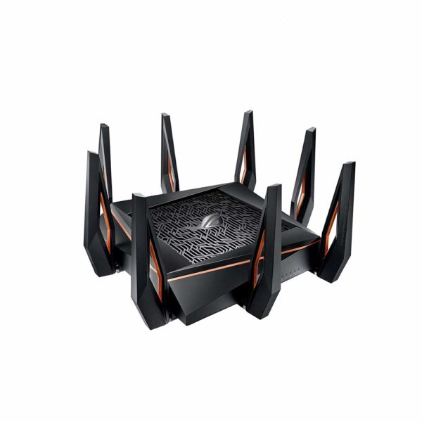 "Asus Tri-band WiFi Gaming Router AX11000, GT-AX11000; Network Standard: IEEE 802.11a, IEEE 802.11b, IEEE 802.11g, IEEE 802.11n, IEEE 802.11ac, IEEE 802.11ax, IPv4, IPv6; Data Rate: 802.11ax (2.4GHz): up to 1148 Mbps ""GT-AX11000"""