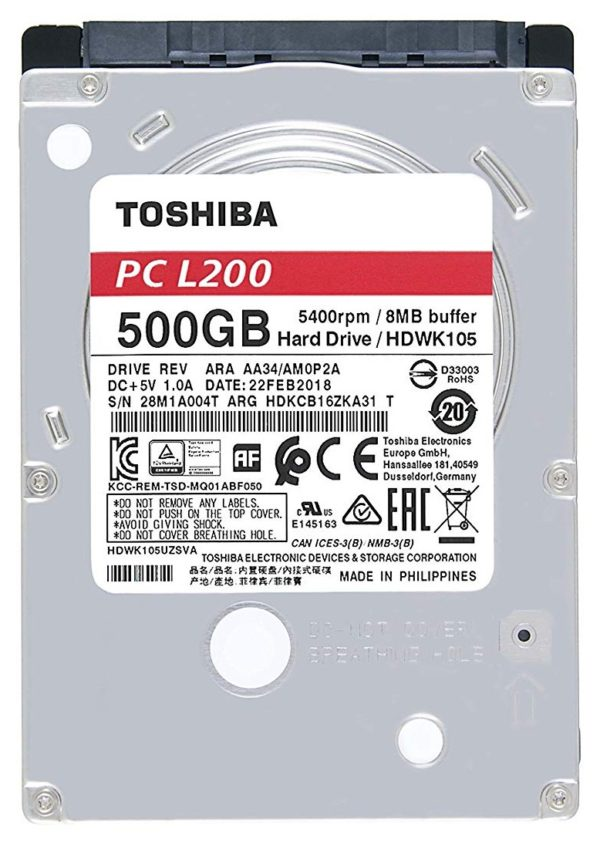 "HDD mobile Toshiba L200 (2.5″) 6,63cm, 500 GB, 5400rpm, 8mb,7mm, bulk ""HDWK105UZSVA"""