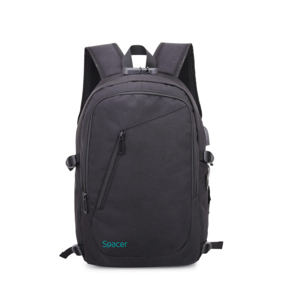 "RUCSAC SPACER, pt. notebook de max. 15.6″, 2 compartimente, buzunar frontal, buzunar lateral x 2, blocare fermoar, USB 2.0 (M)(pt. acces la Power Bank), Jack 3.5 mm (pt. acces la casti), waterproof, poliester, gri, ""Duke"", ""SPB-DUKE-GRAY"""