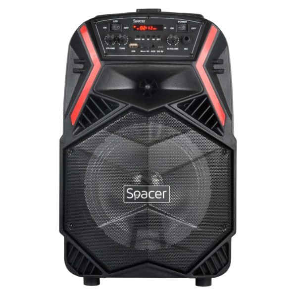 "BOXA SPACER portabila bluetooth COUGAR, tip troler, RMS: 35W, 8″ woofer, acumulator 3.7V1800 mAh, input : AUX audio, guitar, USB/microSD, remote control, wireless microphone, black, ""SPB-H8-BT"" 43501597 (include TV 8 lei)"