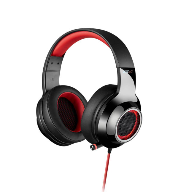 "CASTI EDIFIER Gaming cu microfon. flexibil si detasabil pe casca, control volum pe fir, banda sustinere si protectie ureche din piele, built-in sound card + 7.1 virtual surround sound, USB, red, ""V4 Red"""