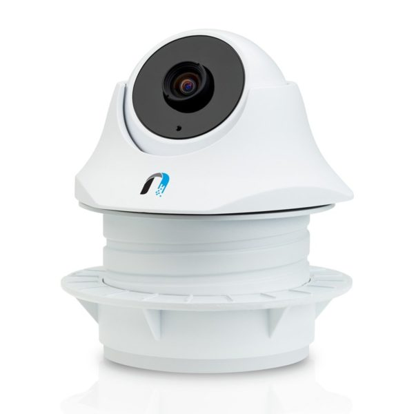 "Ubiquiti Indoor Video Camera UniFi UVC-Dome, 1×10/100 RJ45, microSD Card Slot, Microphone, IR LED with Mechanical IR Cut Filter, Passive PoE, 24V 0.5A PoE Adapter, 720 HD, 30 FPS, 1.96 mm/F2.0 Lens, 1/4″ CMOS, free powerful NVR software, ""UVC-DOME"""