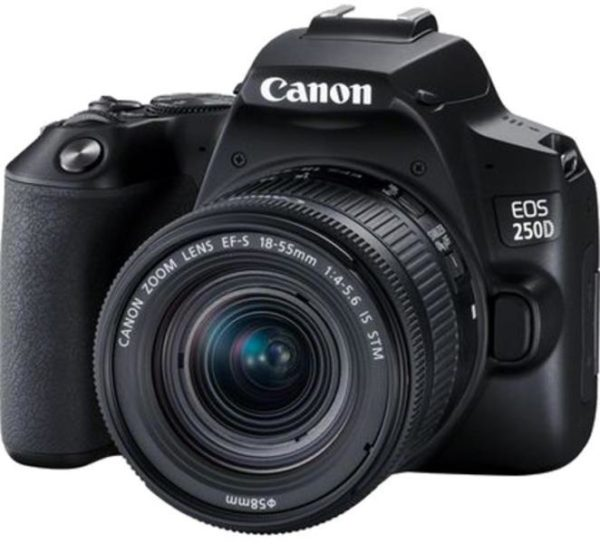 "Camera foto Canon DSLR EOS 250D + 18-55 IS STM kit, Black, 24.1MP, Dual Pixel CMOS, LCD 3″ rabatabil, DIGIC 8, ISO Auto (100-25600), filmare 4K 25 fps, Full HD 50fps, HDMI mini,WI-FI, Bluetooth, acumulator Li-ion LP-E17, negru ""3454C007AA"""