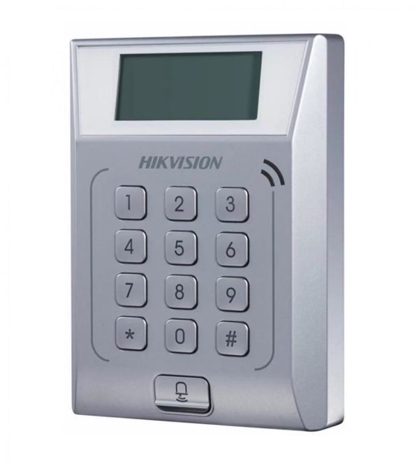 """Standalone Access Control Terminal Hikvision, DS-K1T802M; Built-inMifarecard reading module, Storage with 3,000 cards and 10,000 accesscontrolevents; Uplink Communication: TCP/IP; 12 Keys keyboard anddoorbell, DC12V/1A; """"DS-K1T802M"""""""