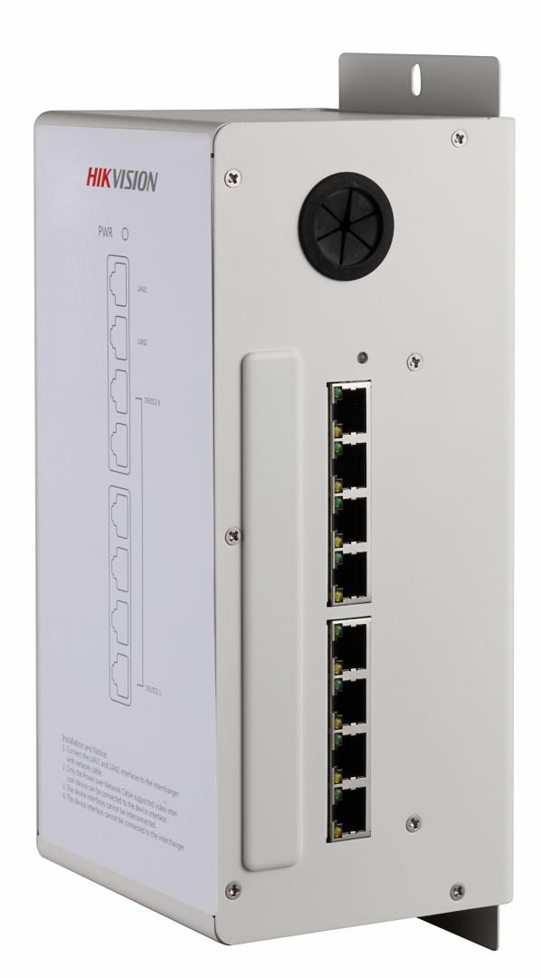 """Video/Audio Distributor Hikvision DS-KAD606built-involtage-stabilizedpower, 8 x 100Mbps ports(6-ch supportingnetwork cablepowering and 2-chcascading LAN interfaces), suitable forindoor stationand villa doorstation """"DS-KAD606"""""""