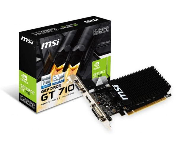 "PLACA VIDEO MSI NVIDIA GeForce GT 710 1GD3H LP, 1 GB GDDR3 64 biti, PCI Express 2.0 x 8, HDMI, DVI, VGA, sistem racire aer pasiv, ""GT710 1GD3H LP"""