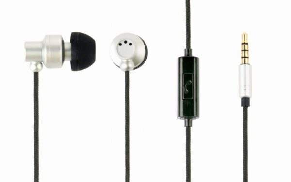 "Metal earphones with microphone, ""Paris"", silver ""MHS-EP-CDG-S"""