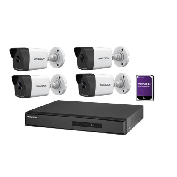 "KIT supraveghere HIKVISION, contine 4 camere tip Bullet 2 Mpx, lentila Fixa 2.8 mm, IR 30 m, DVR/NVR 4 canale, ""NK42E0H-1T(WD)"""