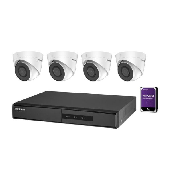 "KIT supraveghere HIKVISION, contine 4 camere tip Turret 2 Mpx, lentila Fixa 2.8 mm, IR 30 m, DVR/NVR 4 canale, ""NK42E2H-1T(WD)"""