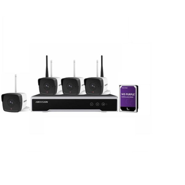 """KIT 4CAMERE BULLET+1NVR+1HDD WIFI 2MP """"NK42W0-1T(WD)"""""""