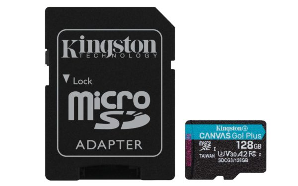 "MicroSD CARD Kingston 128 GB, SDXC, clasa 10, adaptor, standard UHS-I U3, V30, A2, 4K, Canvas Go! Plus ""SDCG3/128GB"""