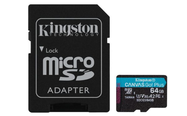 "MicroSD CARD Kingston 64 GB, SDXC, clasa 10, adaptor, standard UHS-I U3, V30, A2, 4K, Canvas Go! Plus ""SDCG3/64GB"""