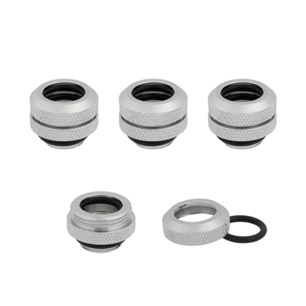 Corsair Fitting (hard tube),XF Hardline 4-pack (12mm OD compression; chrome),G1/4″ BSPP, Greutate 54g