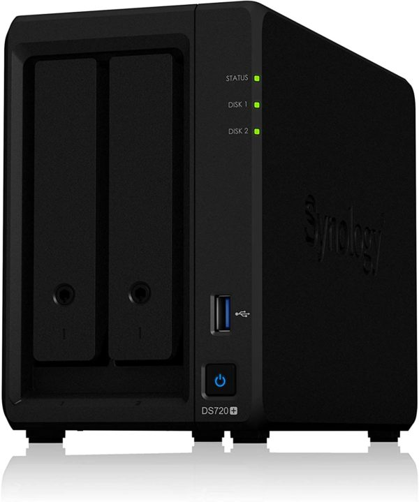 "NAS SYNOLOGY, tower, HDD x 2, capacitate maxima 108 TB, memorie RAM 2 GB, RJ-45 (Gigabit) x 2, porturi USB 3.0 x 2 | eSATA, ""DS720+"""
